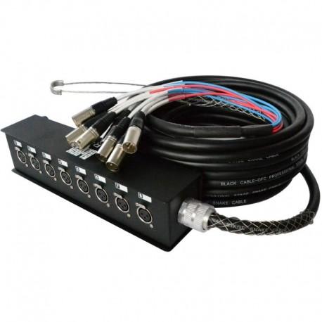 SNAKE 8XLR F / 8XLR M en 15M BLACK CABLE